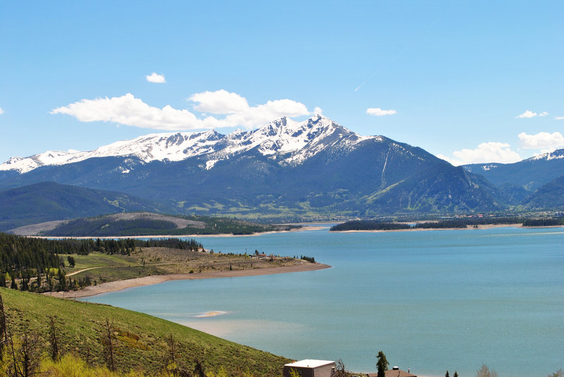 View of Dillon Reservoir and the Ten Mile Range beyond. From Oro Grande Trail.