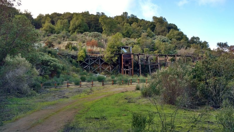 This is the view approaching the remnants of April Trestle on April Trail. Mining ore cars brought cinnabar (mercury ore) out of the April Tunnel at the left end of April Trestle.