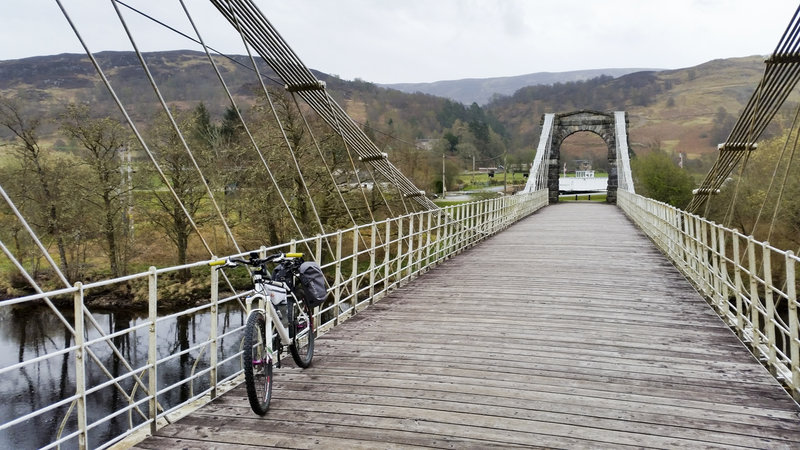 Old suspension Bridge of Oich. At the newer swing bridge, you either go south of Loch Oich towards Laggan Locks, or north of Loch Oich towards Invergarry. Both options join shortly after Laggan Locks.