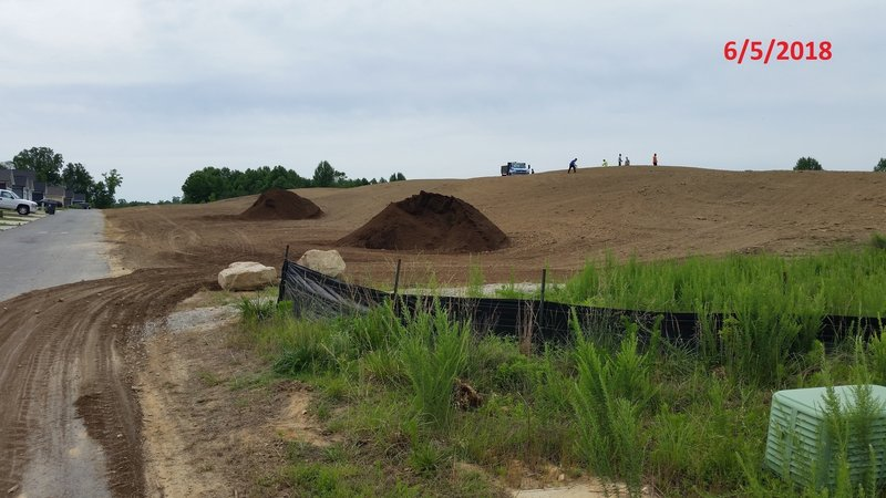 Temporary reconstruction of the 'berm' on 6/5/2018. The trail will need to be rebuilt.