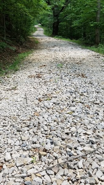 Loose coarse gravel characterizes much of this trail