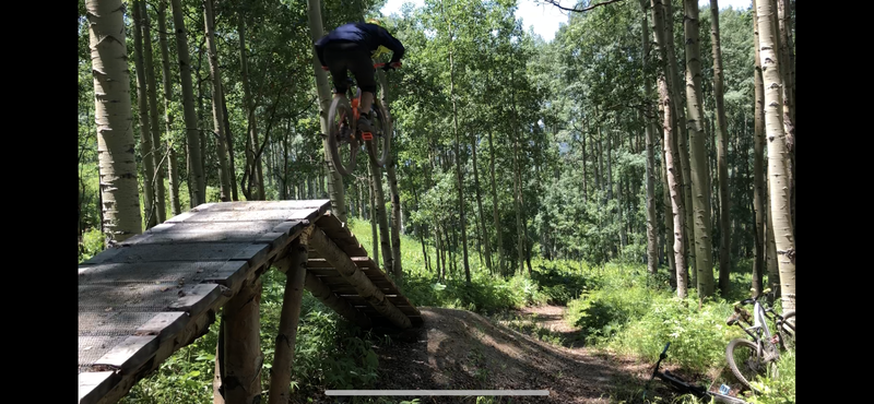 Sending it over one of the fun wood features on this fun downhill trail section