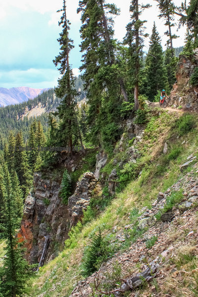 Steep terrain and cliffs where the Lost Lake trail crosses a series of avalanche paths