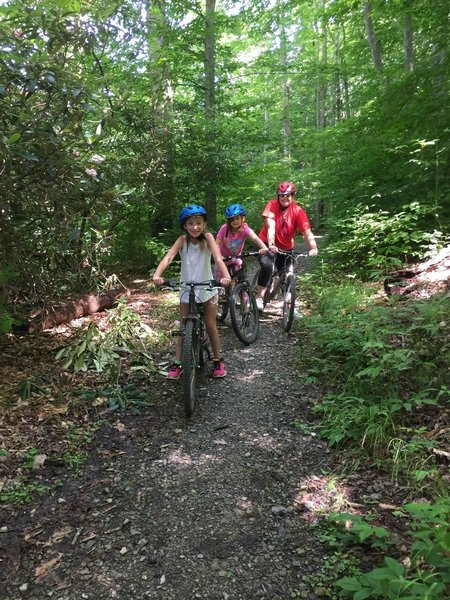 Cherry River Elementary kids learning to mountain bike on Summit Lake Trail