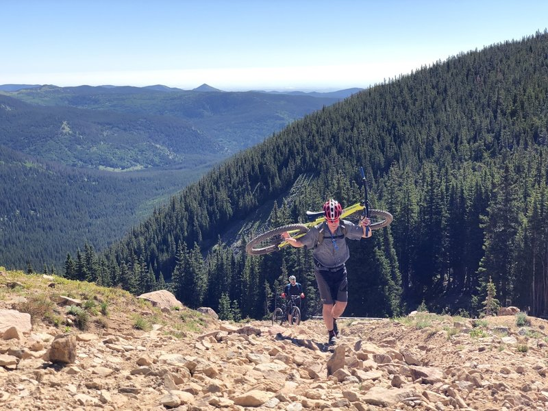Hiking up to Rollins Pass, above Yankee Doodle Lake