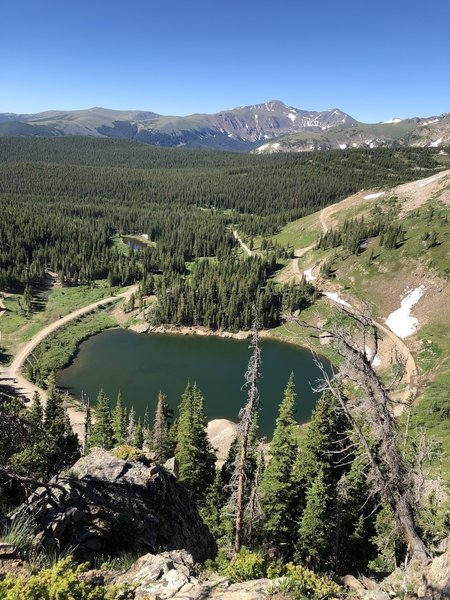View over Yankee Doodle Lake, on way from Pipeline to Rollins Pass summit