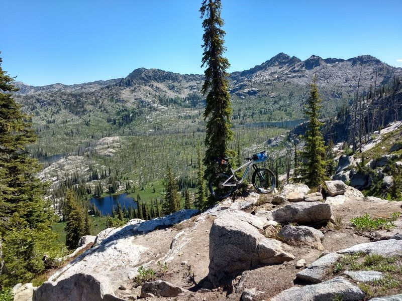 View of one of the Sisters Lakes and Box Lake from switchbacks