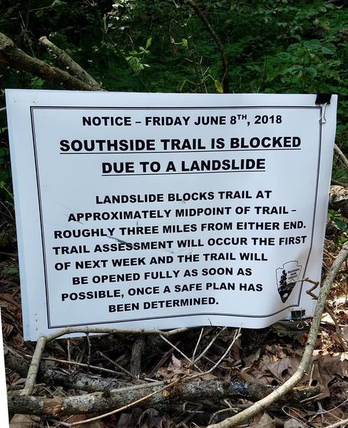 The sign marking the trail as closed. I took this photo on July 14th, 2018.