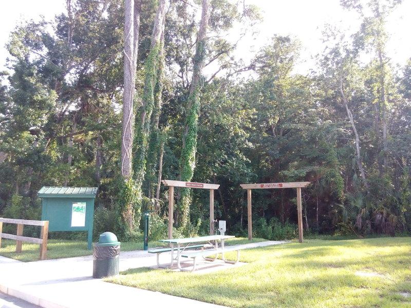Soldiers Creek Bike Wash, tool station and trailhead.