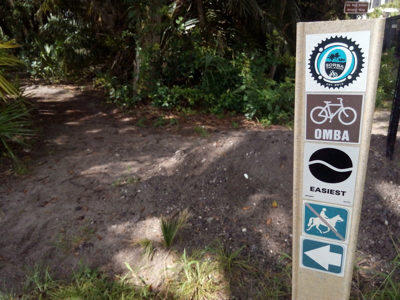 Orlando Mountain Bike Park's trail entrance.