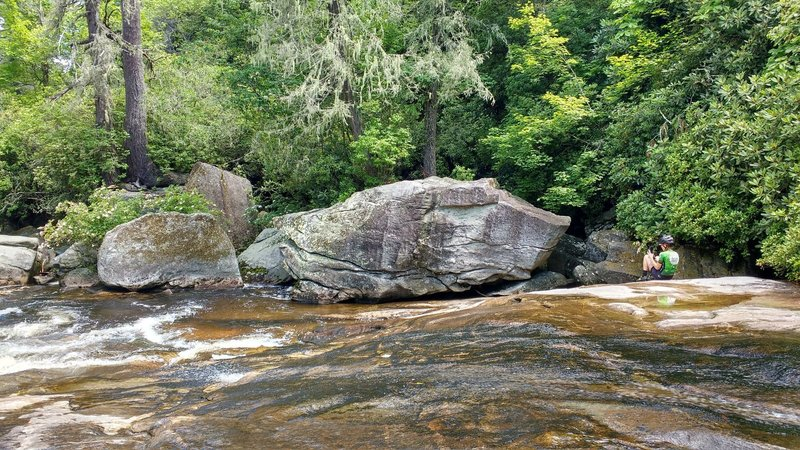Large boulders on Riding Ford trail river crossing.