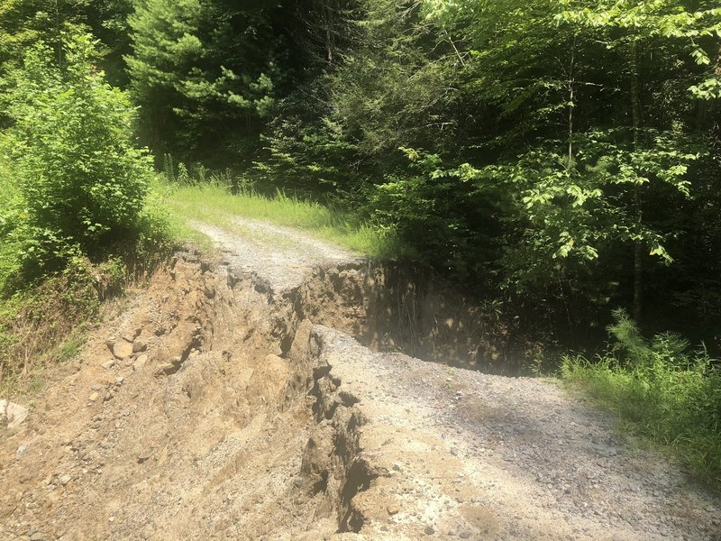 Here is the washout you have to walk until repaired.