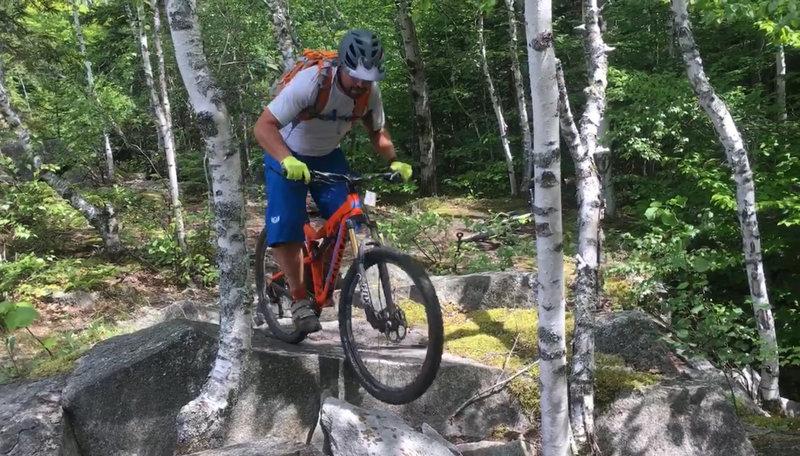 Maneuvering through a tough little rock section