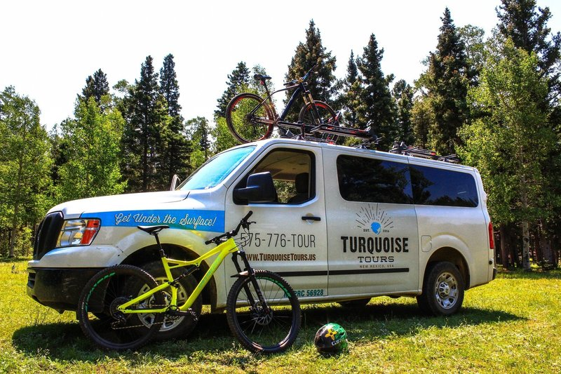 The Turquoise Tours shuttle at Garcia Park.  They run shuttles to the South Boundary Trail, with drop off locations at the park and the trailhead on Forest Road 76 south of Angel Fire.