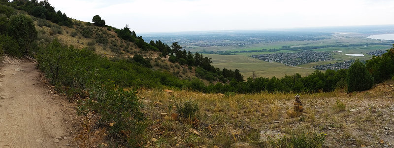 Looking north toward Denver at the top of the first climb.