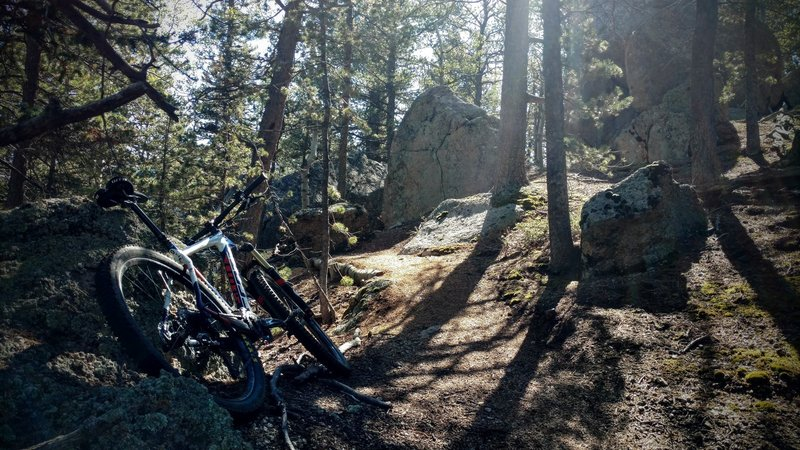 This trail feels as if it has always been here, winding over and between Pike's boulders. It blends seamlessly with the Elk Park Trail, connecting a now epic descent from the top of Pike's Peak down the best trails in N Cheyenne Canyon!
