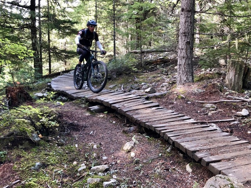 One of the warm up tech sections in the Lost Lake Trails.