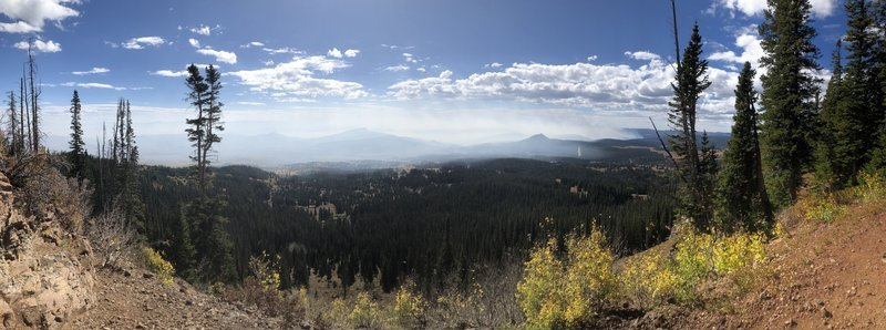 The summit and several viewpoints near the top offer near 360 views—though in this case the Silver Creek Fire got in the way.