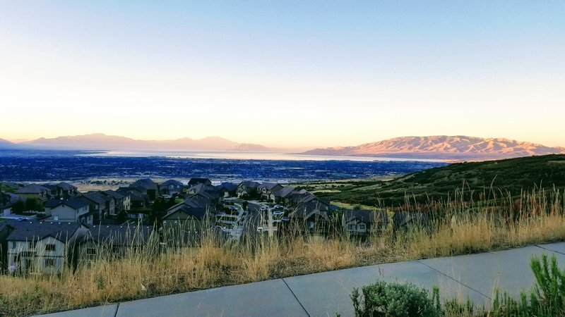 View of Utah lake at sunrise from the bottom of Vertigo.