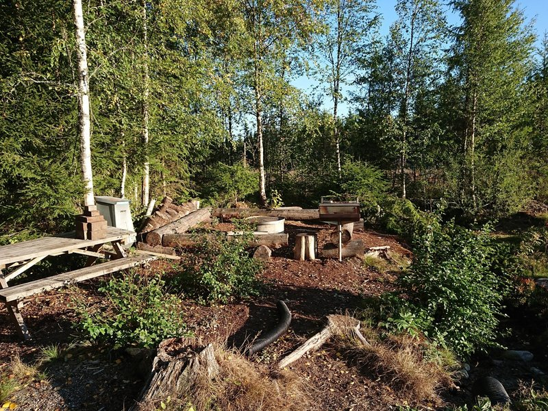 Picnic tables, garbage can, log benches & grill