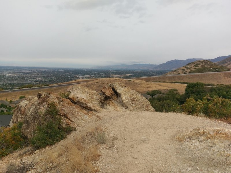 Views over Draper from the rocky outcrop along the Little Valley Loop Trail