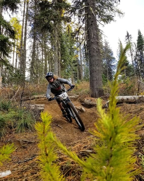 Flying through the fall scenery up at Mt Spokane.