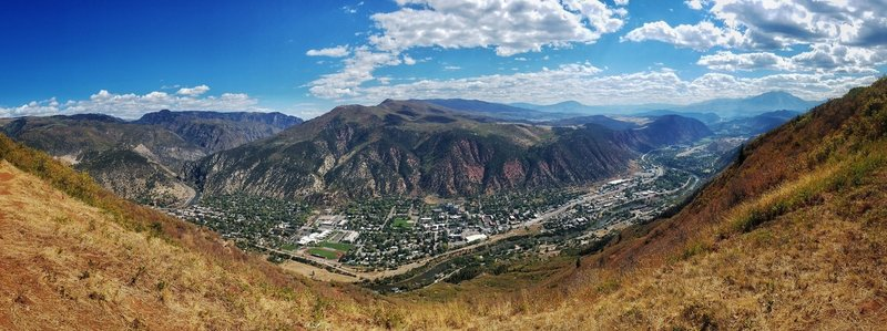 Looking out over Glenwood Springs, Mount Sopris in the distance on the right.