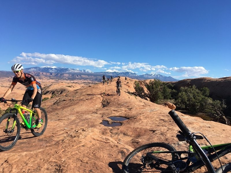 Taking a break at the very top of the loop climb - after a counter-clockwise ride.