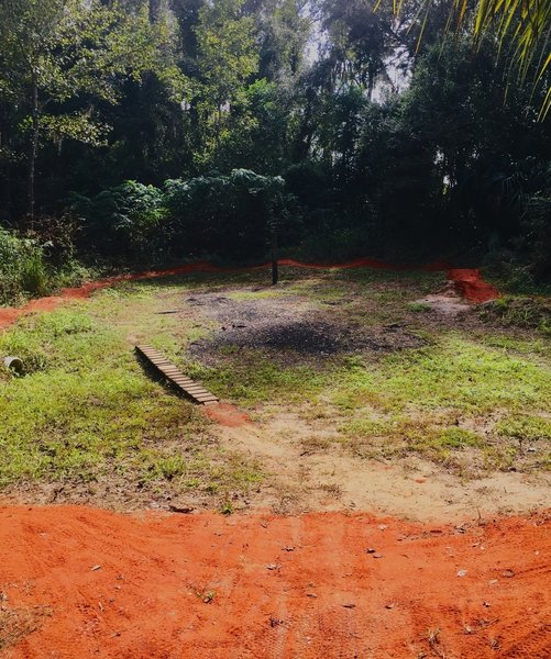 Newly constructed pump track in the skills area by the trailhead.