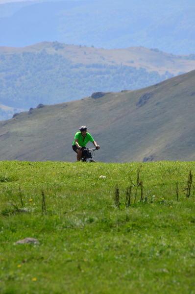 Biker enjoying the flora of the mountainous province Syunik