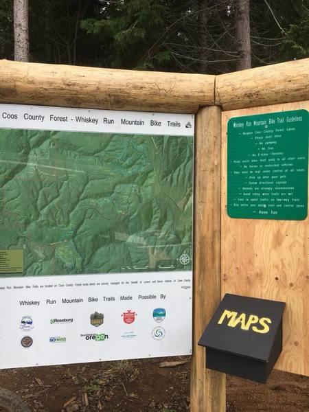 Trailhead map at Whiskey Run Trails