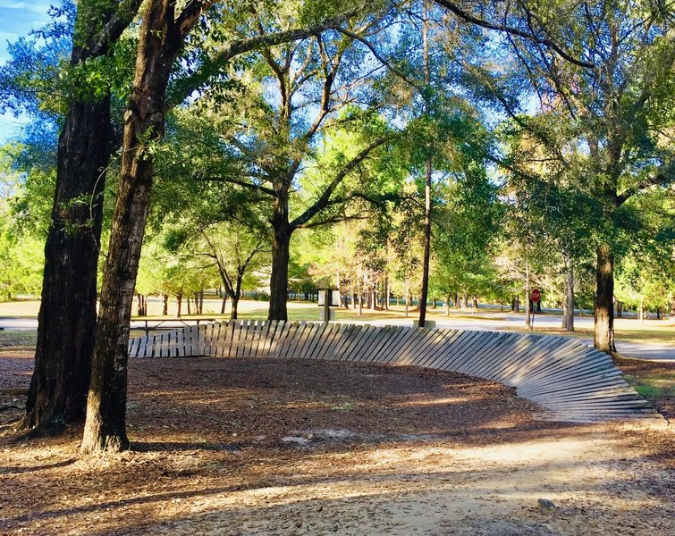 A beautifully-built wooden berm in the Skills Area waits to be ridden.