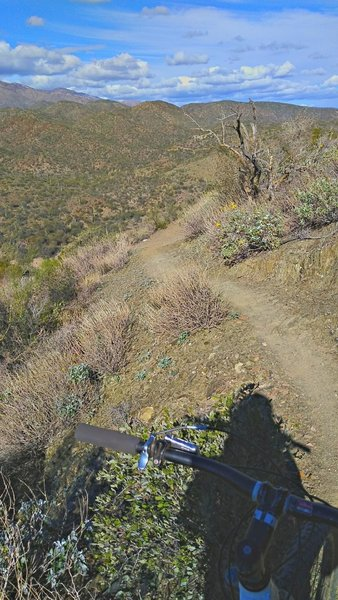 Northbound on narrow trail