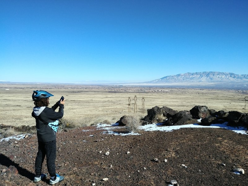 The far most north Volcanos in the Petroglyph National Monument looking at the Sandia Mountains