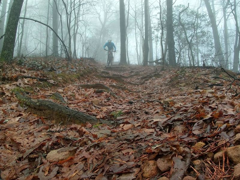 Riding Stanely Gap in the clouds.