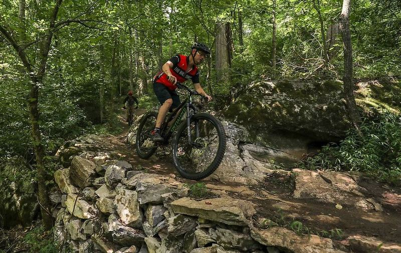 Rock wall built by SORBA volunteer Dirty Nate, photo credit: The Bike Shop of Johnson City.