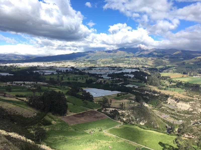 On the climb to Cerrro Cananvalle, Cayambe city view.