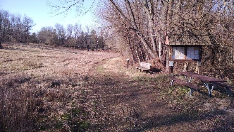 Mowed singletrack along the field edge.