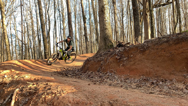 Taking the berms on the tech loop