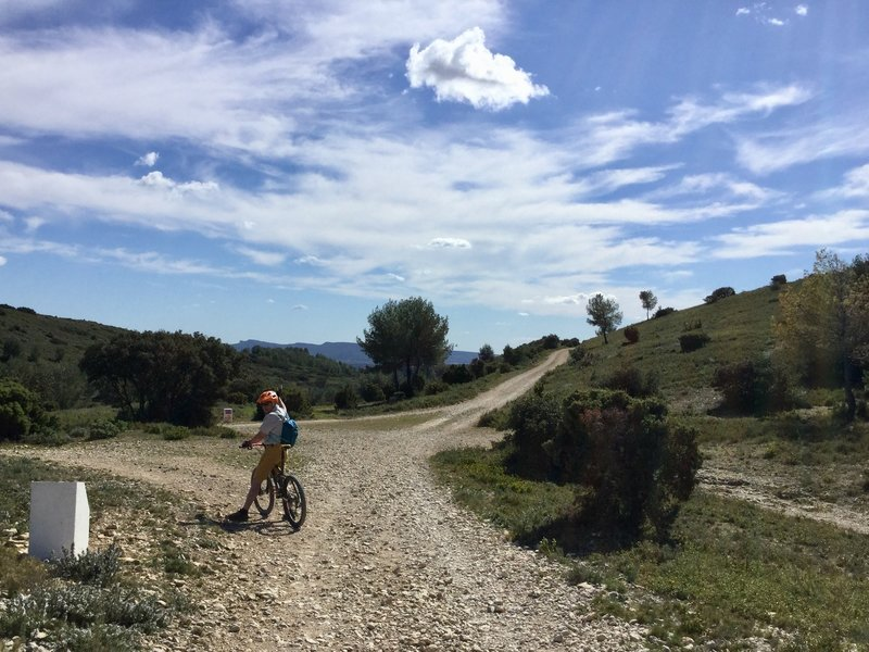 Looking south at the crossroads, with the indistinct start of the singletrack leading to Boulbon on the right.