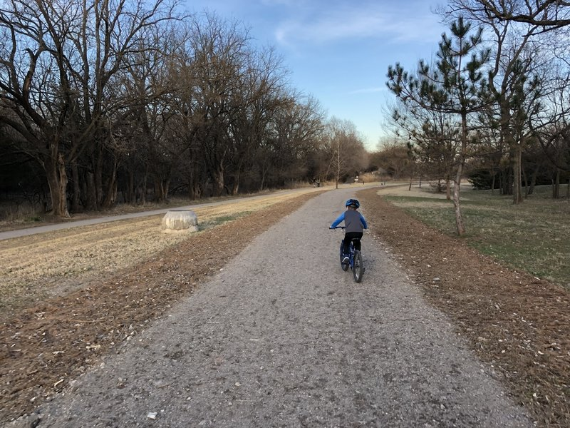 Hiking, biking and equestrian trails all converge here on both sides of the Cowskin Creek. Yield to horse and pedestrians.