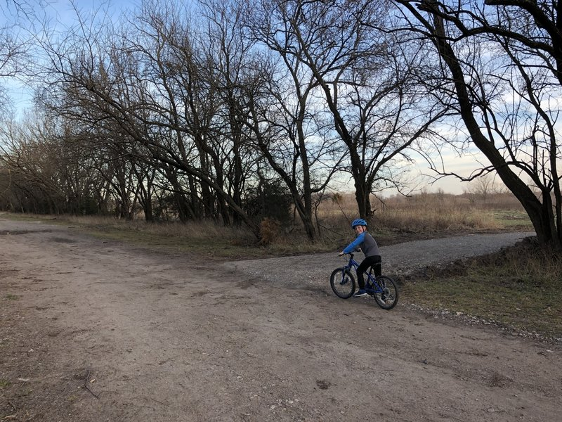Here's the entrance to the bike path. If you're on concrete on this side of the creek, you're on the walking path.