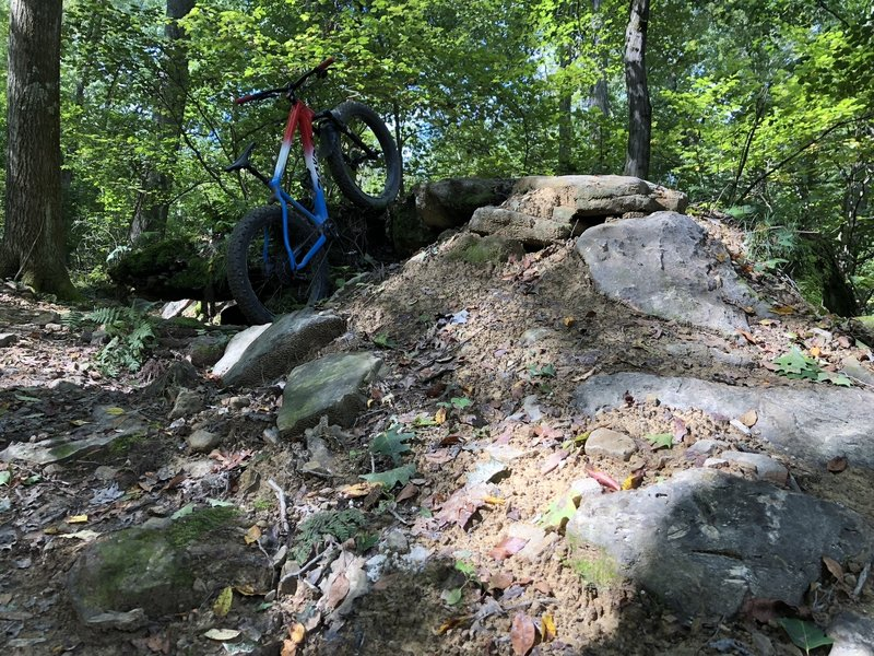 Bike for scale on the optional rock feature