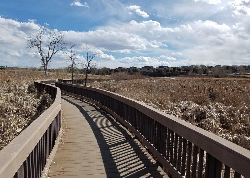 Boardwalk at Sampson Gulch wetlands.