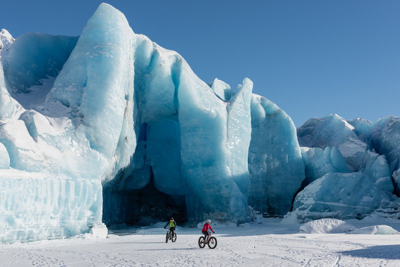 Riding in front of Spencer Glacier