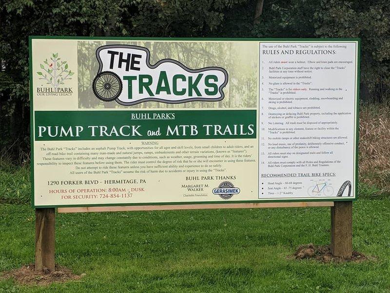 Buhl Park The Tracks Sign
