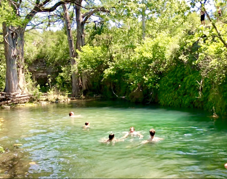 Natural spring pool below the Canyon Perch Overlook... boys cooling off after XC practice.