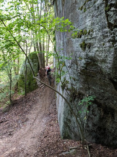 One of the many big rocks at Jakes Rocks part way down Ursus trail. This is a somewhat steep hill into a nice turn or a nice drop feature
