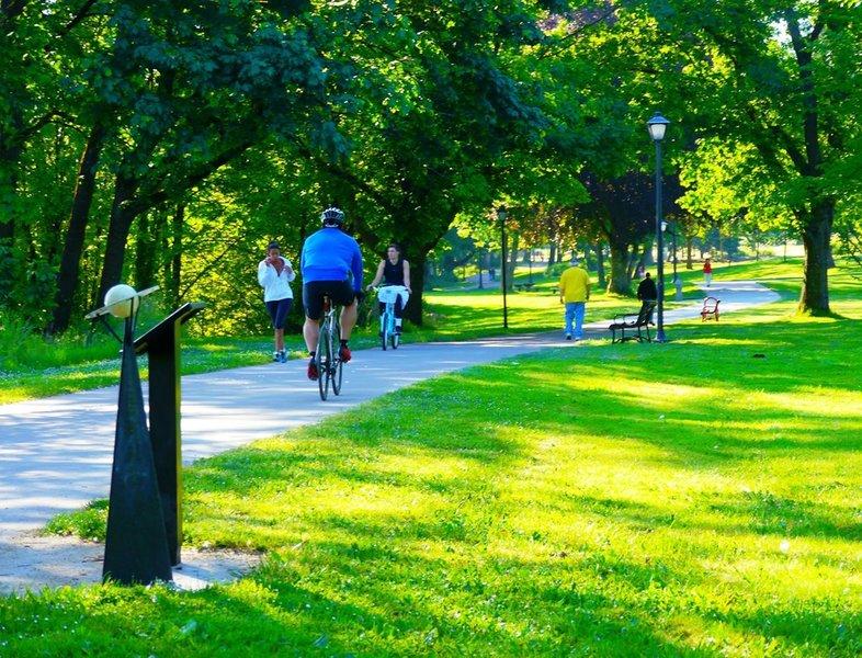 Biking near Alton Baker Park.