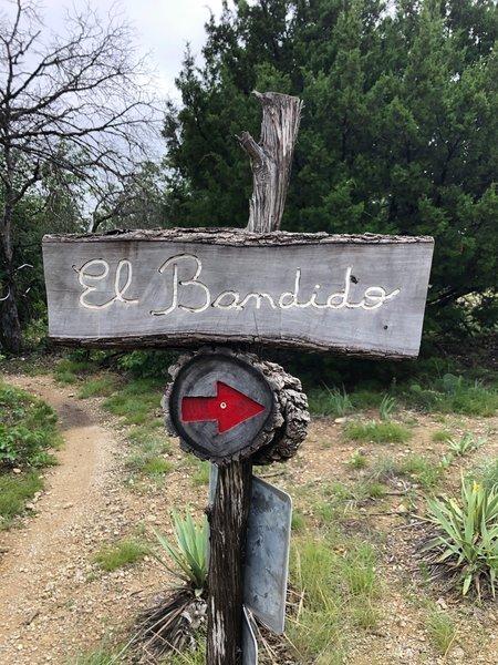 Marker for beginning of El Bandido Trail.